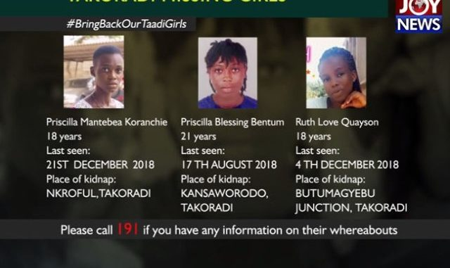 From left: Priscilla Mantebea Koranche, Priscilla Boateng Bentum and Ruth Love Quayeson are part of the 7 missing girls