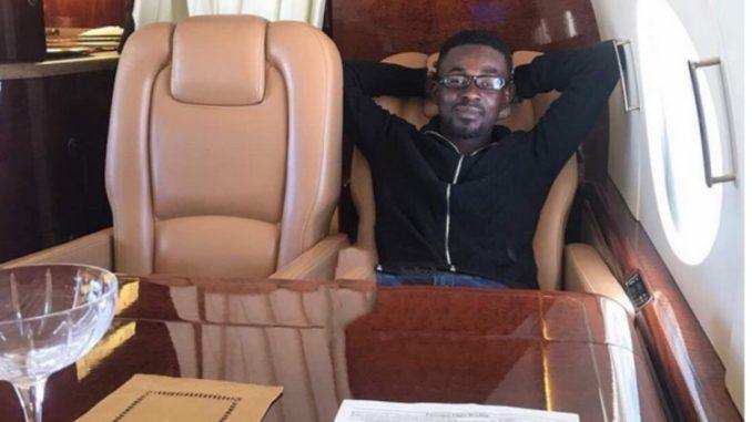 Nana Appiah Mensah in a jet
