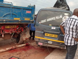 truck and mini bus crash