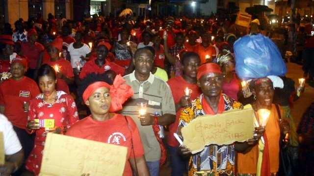 Residents of Sekondi Takoradi hold vigil for missing girls