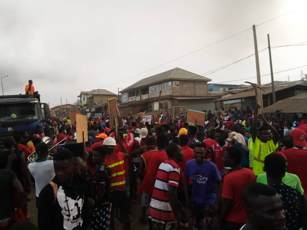 Tarkwa goes wild over deplorable roads
