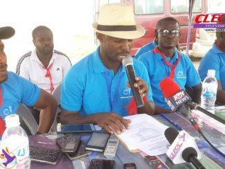 Secretary to the Concerned Citizens of Tarkwa-Nsuaem, Samuel Kwasi Asare,addressing the media