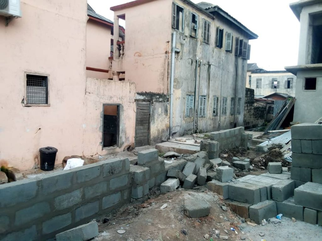police demolish wall sekondi trotro station