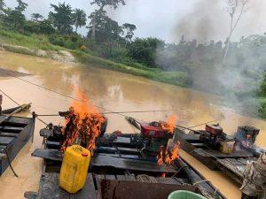 galamsey equipment burnt